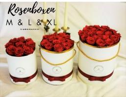 Runde Rosenboxen mit ewigen Rosen