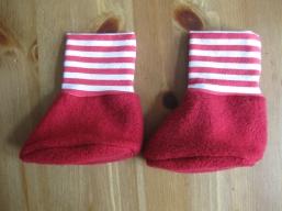 Bio Baby Schuhe Ringel rot-weiß
