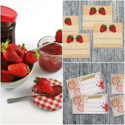 Etiketten für Erdbeermarmelade