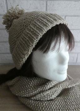Mütze und Schal in Perlmuster (beige)