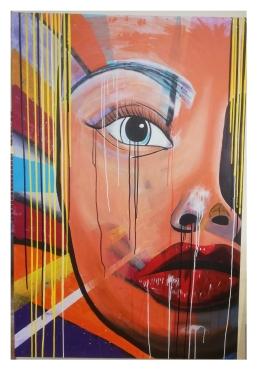 Riesiges Acrylbild - Gesicht - Pop Art Stil