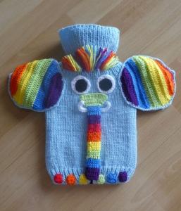 Wärmflaschenbezug Elefant - Regenbogen