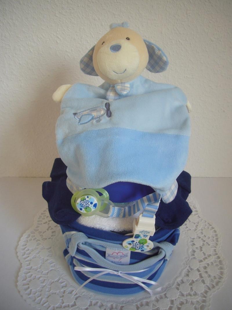 Kleinesbild - Windeltorte Junge blau Body Schmusetuch Streifen