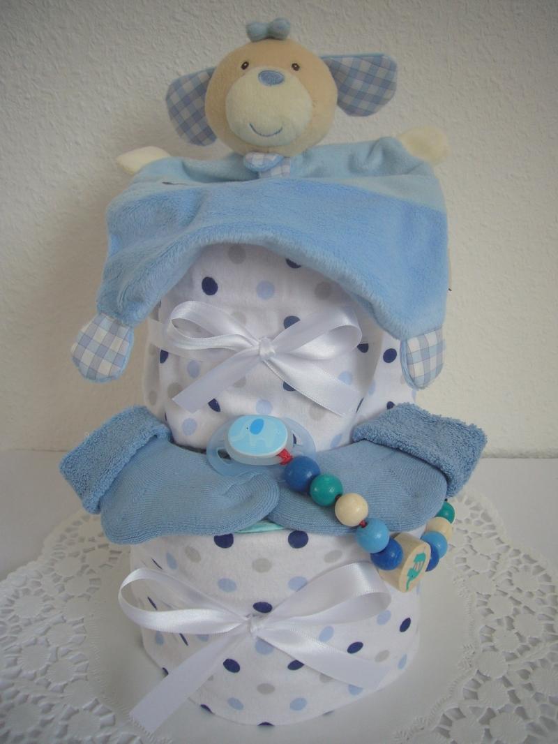 Kleinesbild - Windeltorte Junge Punkte Moltontuch Schmusetuch hellblau