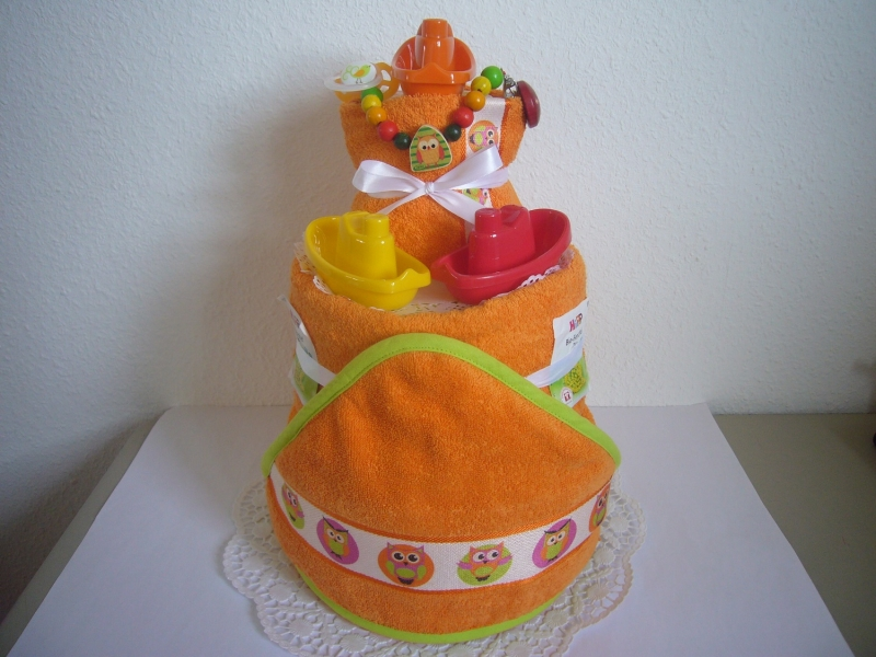 - Windeltorte Eule orange Badespielzeug baden Geburt Taufe Karneval - Windeltorte Eule orange Badespielzeug baden Geburt Taufe Karneval