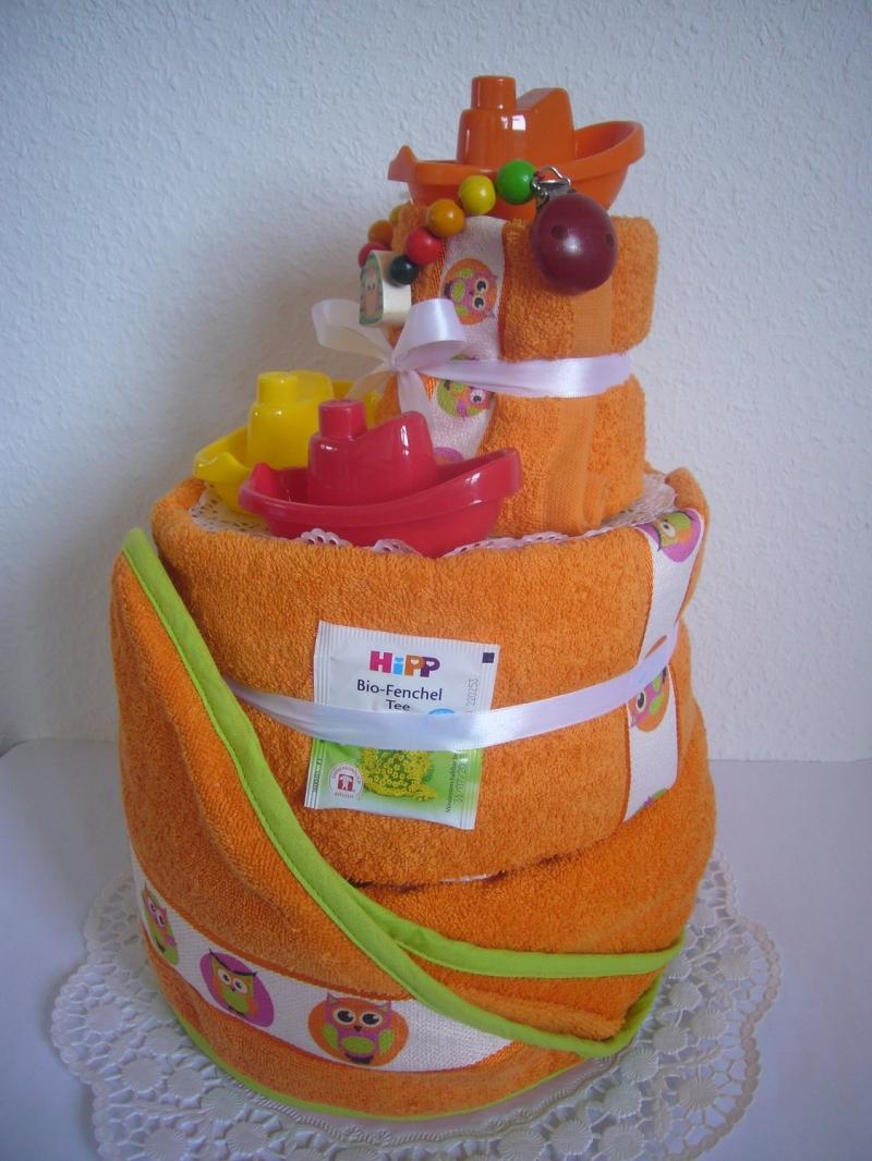 Kleinesbild - Windeltorte Eule orange Badespielzeug baden Geburt Taufe Karneval