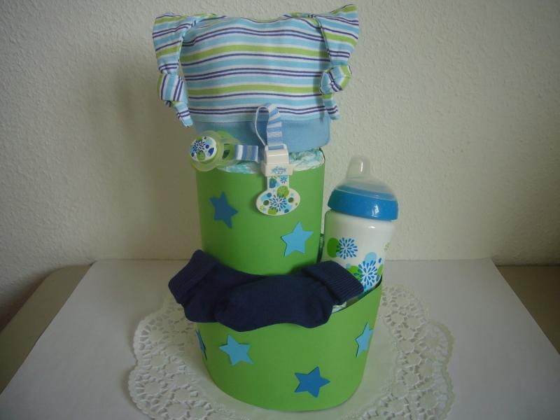 Windeltorte Junge Sterne Schnullerband Mütze Geburt Taufe Geschenk