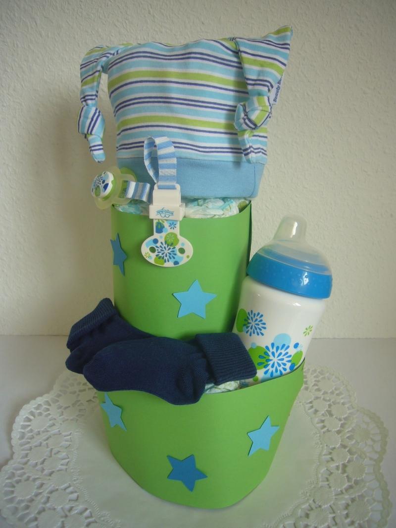 Kleinesbild - Windeltorte Junge Sterne Schnullerband Mütze Geburt Taufe Geschenk