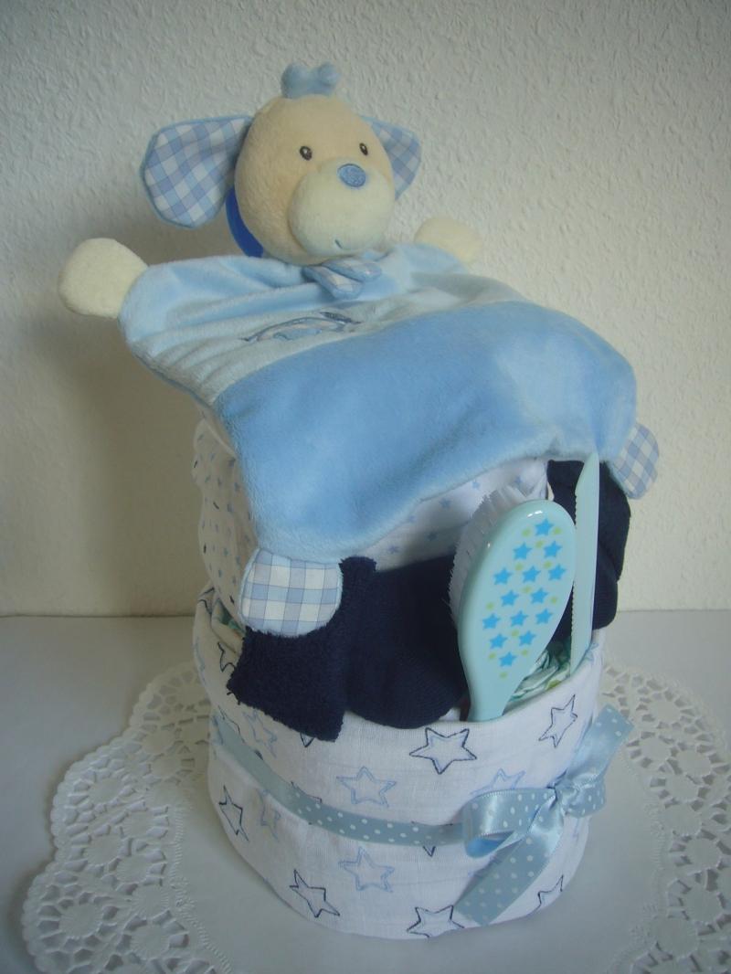 Kleinesbild - Windeltorte Sterne Junge blau türkis Geburt Taufe