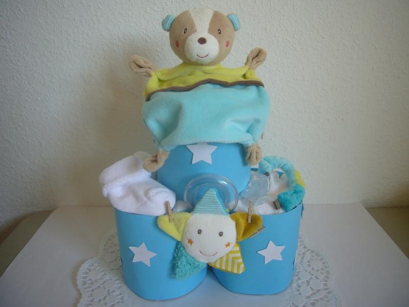 Windeltorte Junge Sterne Geburt Taufe Schmusetuch
