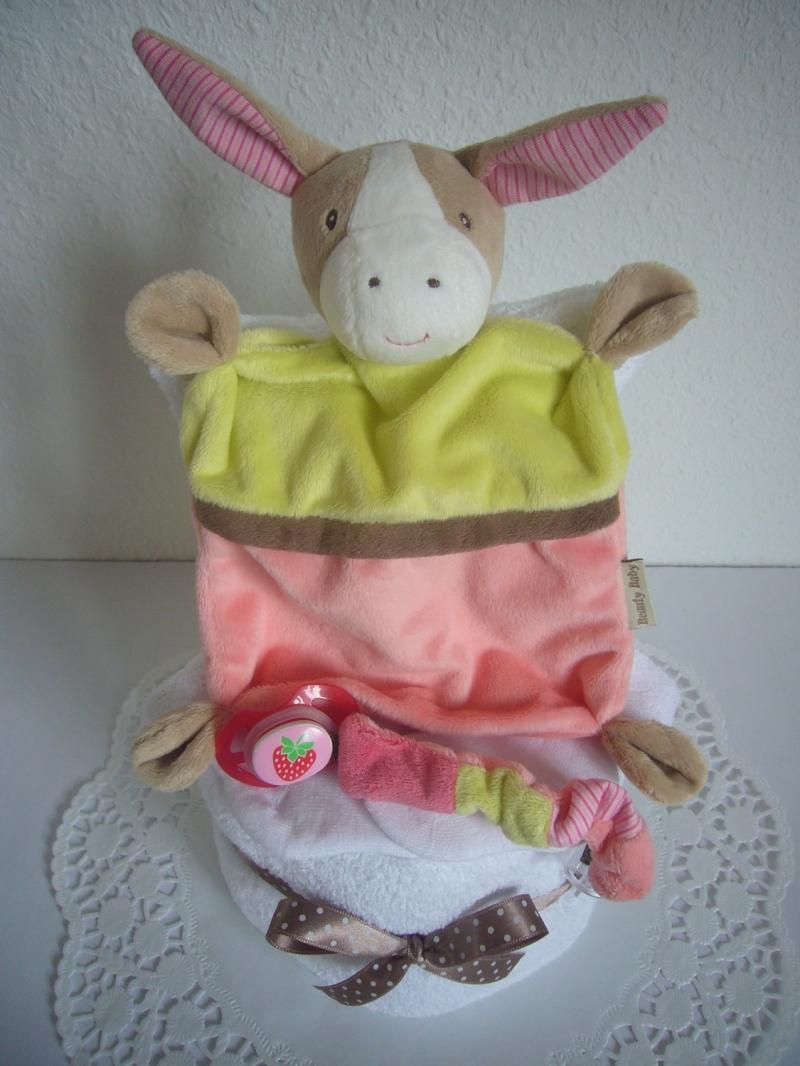 Kleinesbild - Windeltorte Schmusetuch Mädchen Erdbeere Baby Geburt Taufe