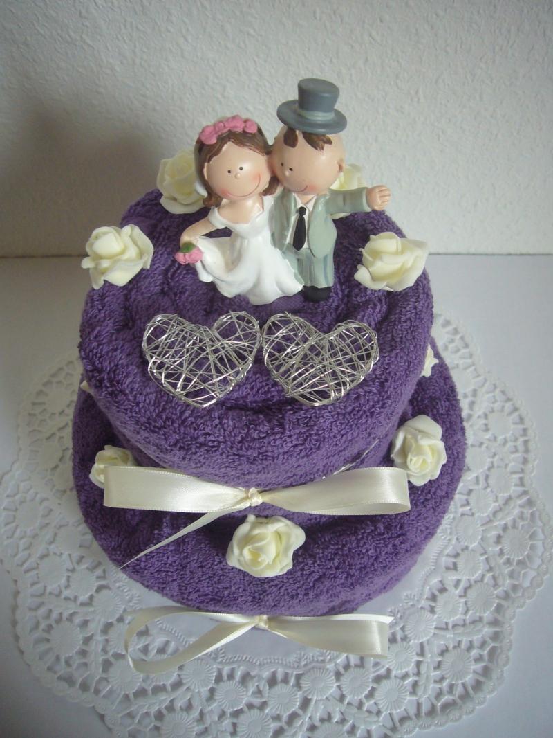 Kleinesbild - Hochzeitsgeschenk lila violett Flitterwochen Duschtuch Handtuch Geschenk Hochzeit Rosen