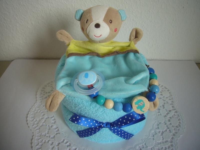 Windeltorte Jungen Taufe Geburt Geschenk Bär Türkis