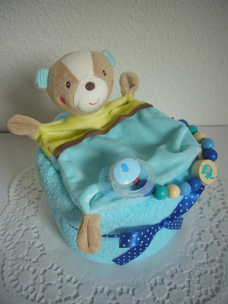 Kleinesbild - Windeltorte Jungen Taufe Geburt Geschenk Bär türkis