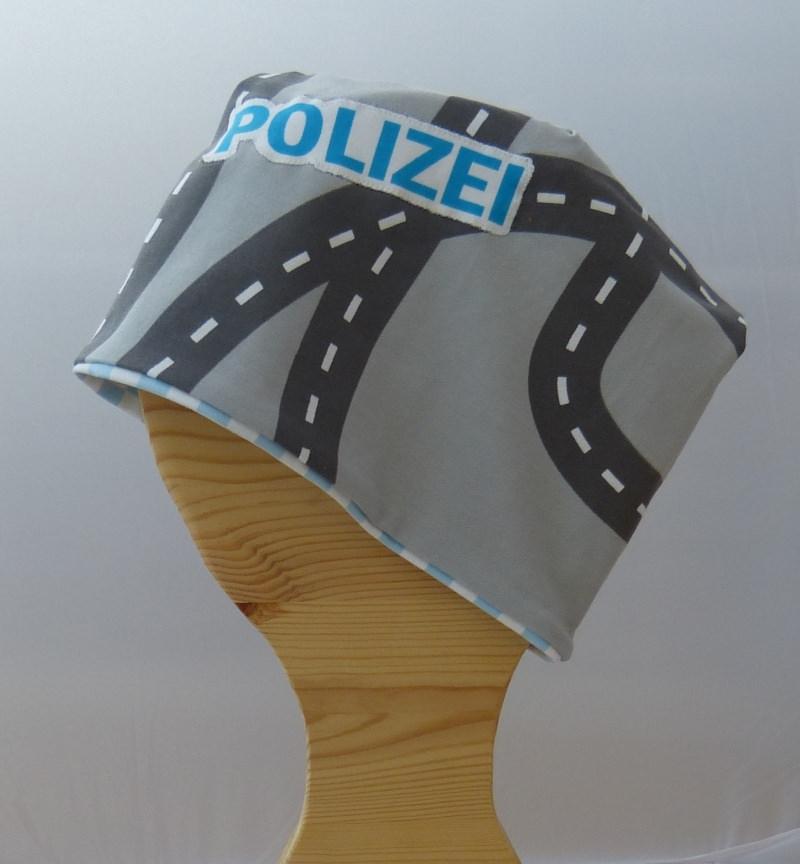 - ♥ Handemade Polizei, Jungen Wendebeanie,  KU 50-54 ♥ - ♥ Handemade Polizei, Jungen Wendebeanie,  KU 50-54 ♥