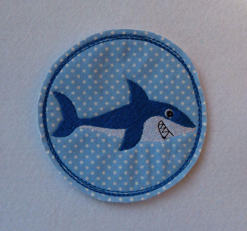 - Stickapplikation, gestickter Aufnäher  Hai - Stickapplikation, gestickter Aufnäher  Hai
