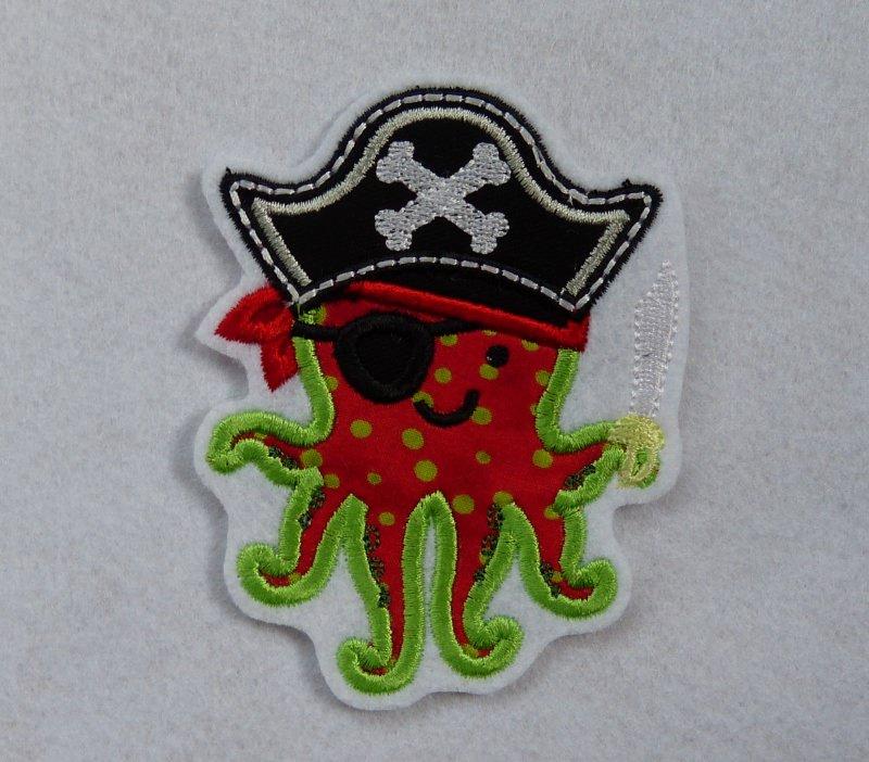 - Applikation, gestickter Aufnäher Tintenfisch Pirat, Octopus - Applikation, gestickter Aufnäher Tintenfisch Pirat, Octopus