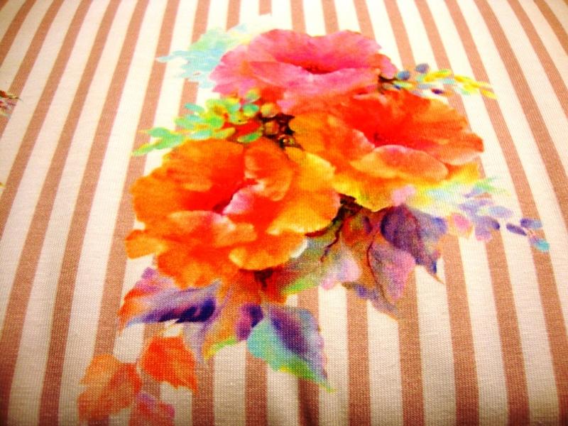 Kleinesbild - Baumwolljersey große farbenfrohe Blumen auf altrosa weiß gestreift