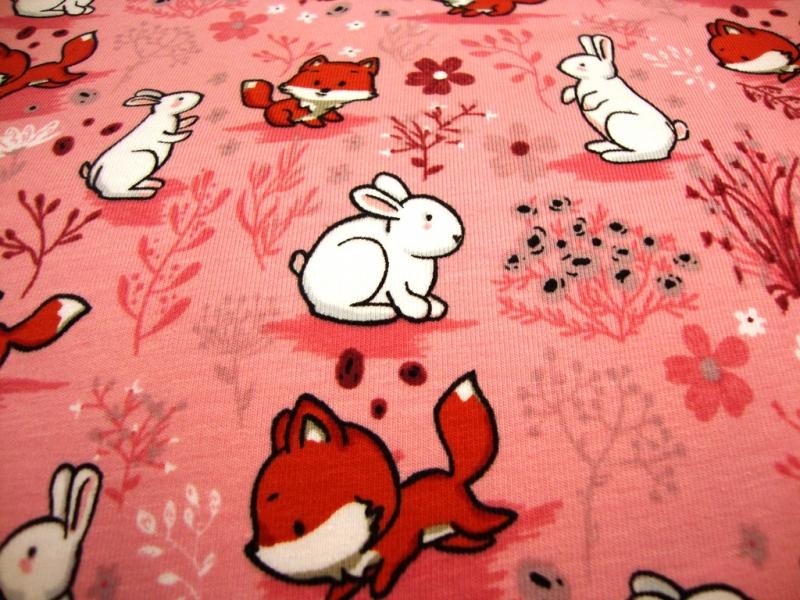 - Baumwolljersey Hase und Fuchs rosa / BUNNY AND FOX rosa - Baumwolljersey Hase und Fuchs rosa / BUNNY AND FOX rosa