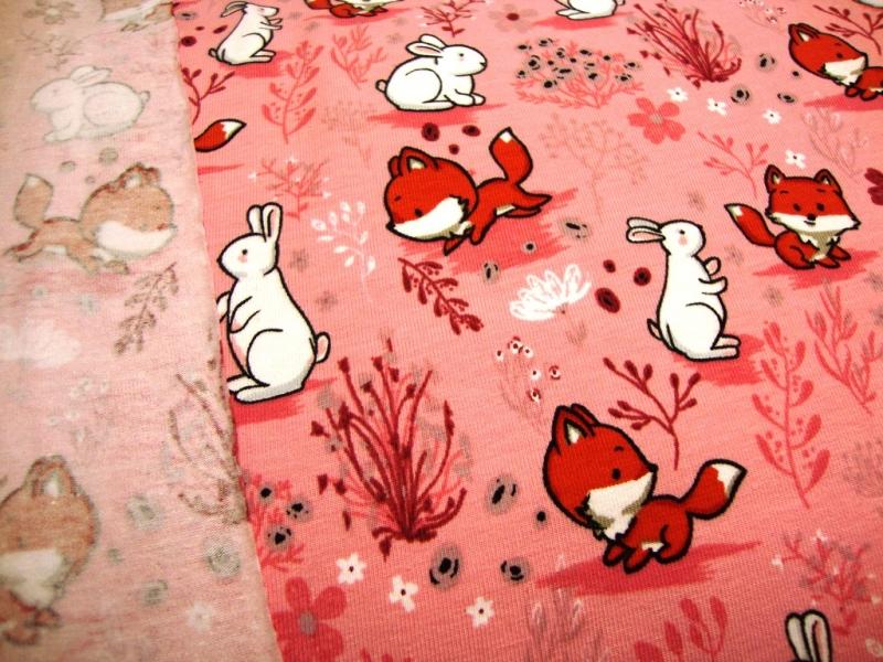 Kleinesbild - Baumwolljersey Hase und Fuchs rosa / BUNNY AND FOX rosa