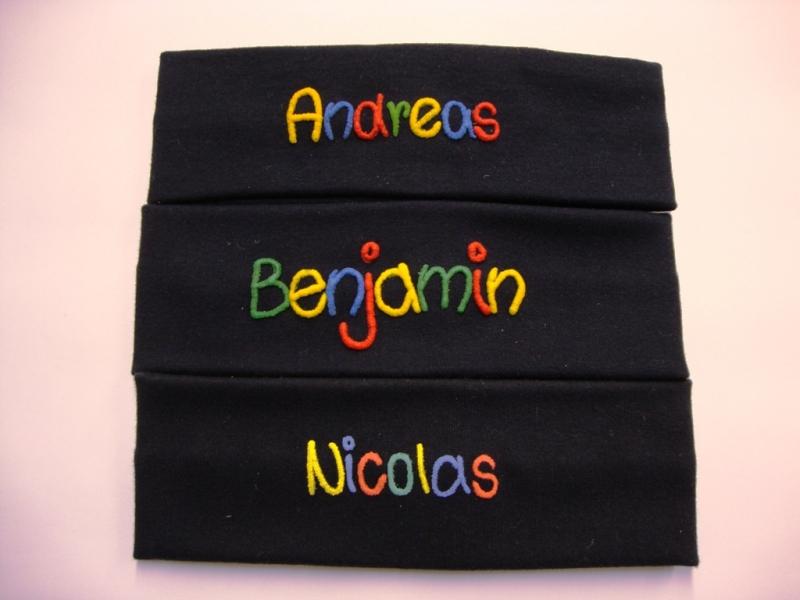 Kleinesbild - handgemachte Stirnband aus Feinripp-Baumwolle marine mit Namen