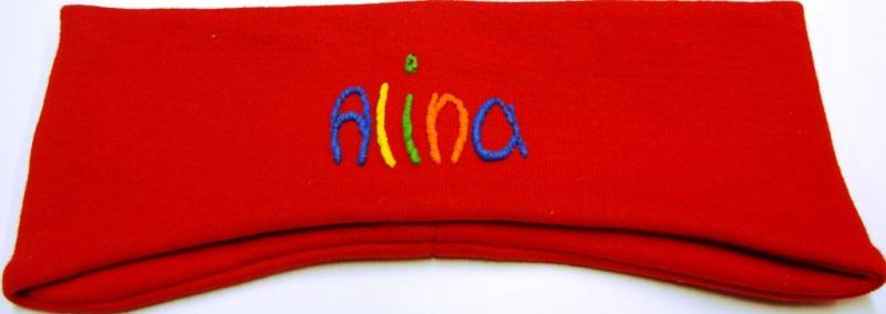 Kleinesbild - Ohrenstirnband handgemachte rot mit Namen