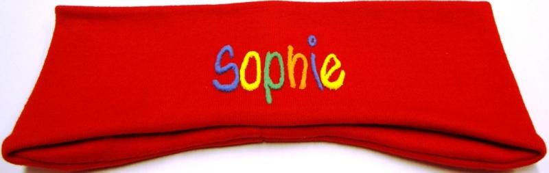 - Ohrenstirnband handgemachte rot mit Namen  - Ohrenstirnband handgemachte rot mit Namen