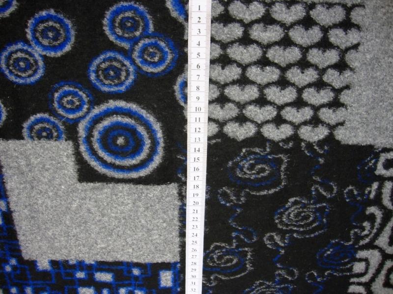 Kleinesbild - Italienischer Walkloden blau grau schwarz Herzen Kreise Blumen