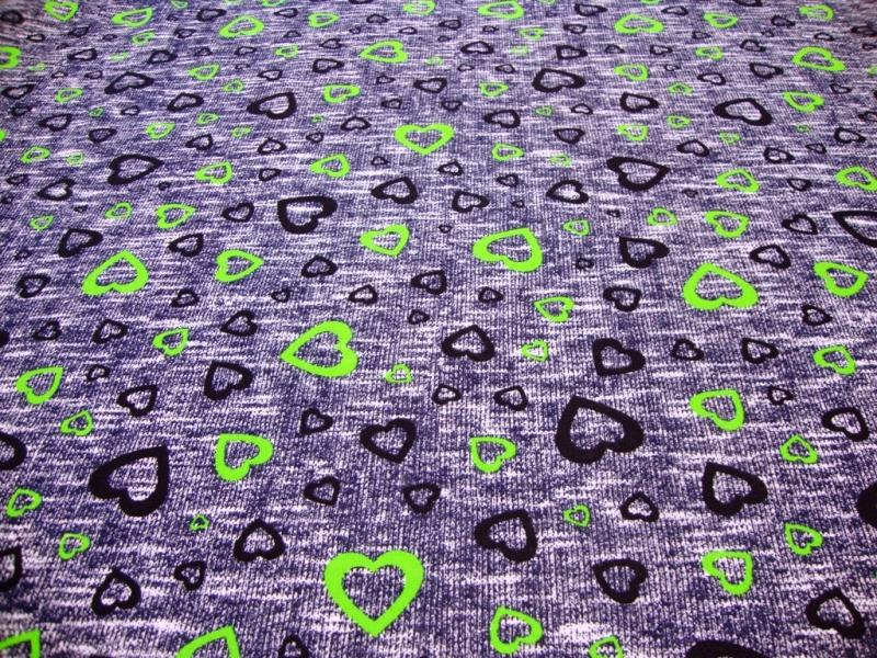 Kleinesbild - Sweatshirt Stoff Herzen blau & neongrün, Stoffbreite 180cm