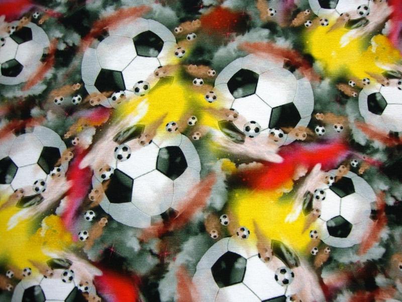 Jersey Fussball Balle Schwarz Rot Gelb Wm Digital Druck Stoff Fussball