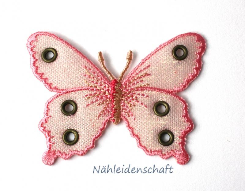- 7 cm großer Schmetterling Applikation rosa Appli - 7 cm großer Schmetterling Applikation rosa Appli