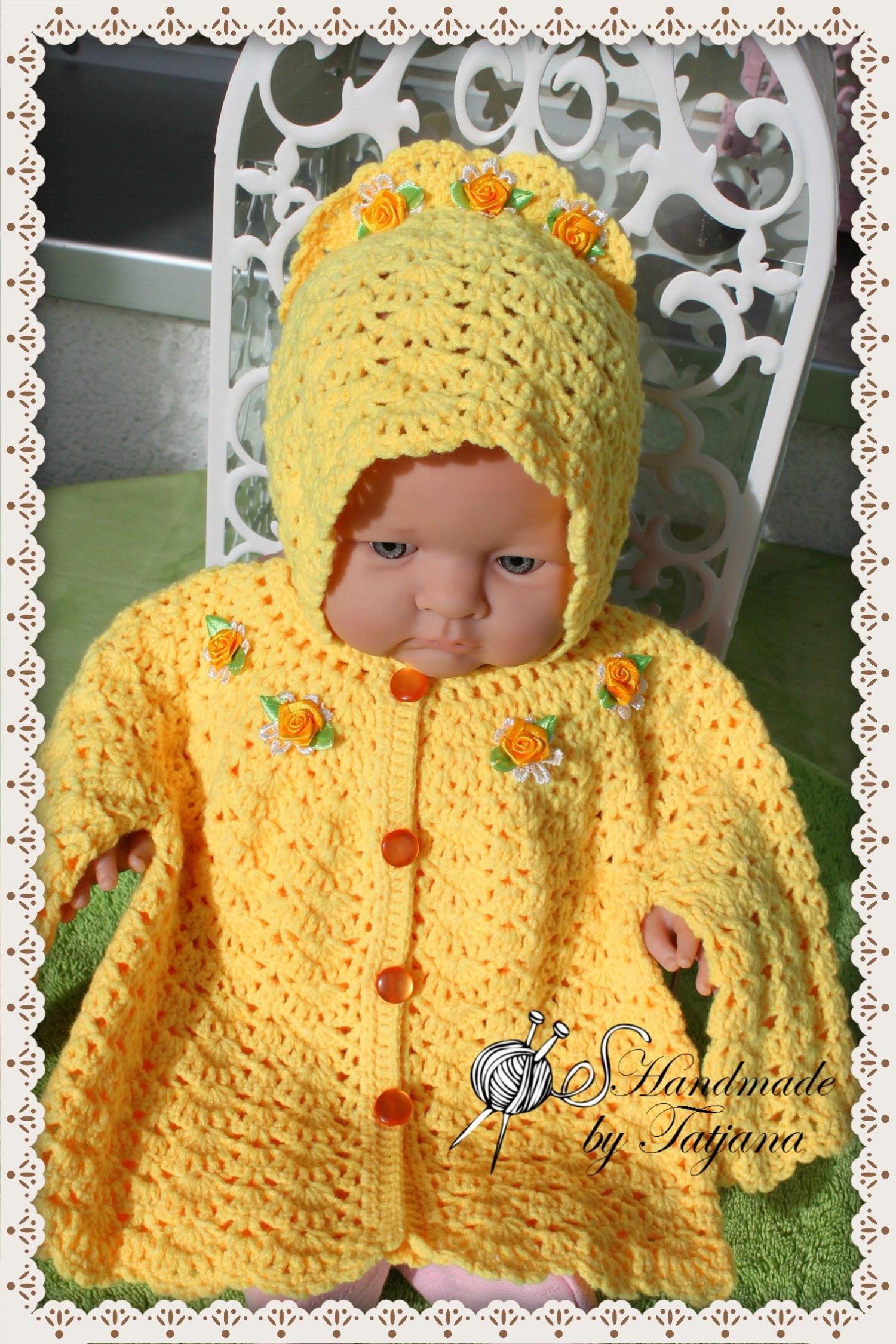 Kleinesbild - Babyjacke + Mütze gehäkelt