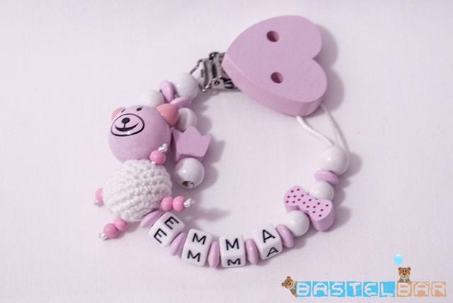 - Personalisierte Schnullerkette -Bär Emma in rosa- - Personalisierte Schnullerkette -Bär Emma in rosa-