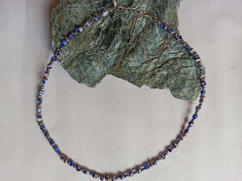 Kleinesbild - Zierliche Halskette Millefiori blau bunt