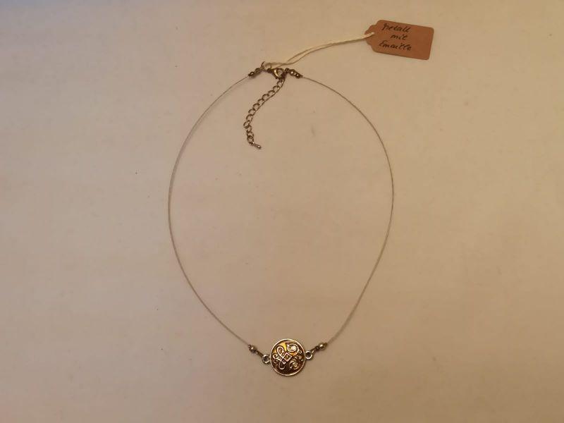 Kleinesbild - Halskette mit Emaille-Anhänger curry