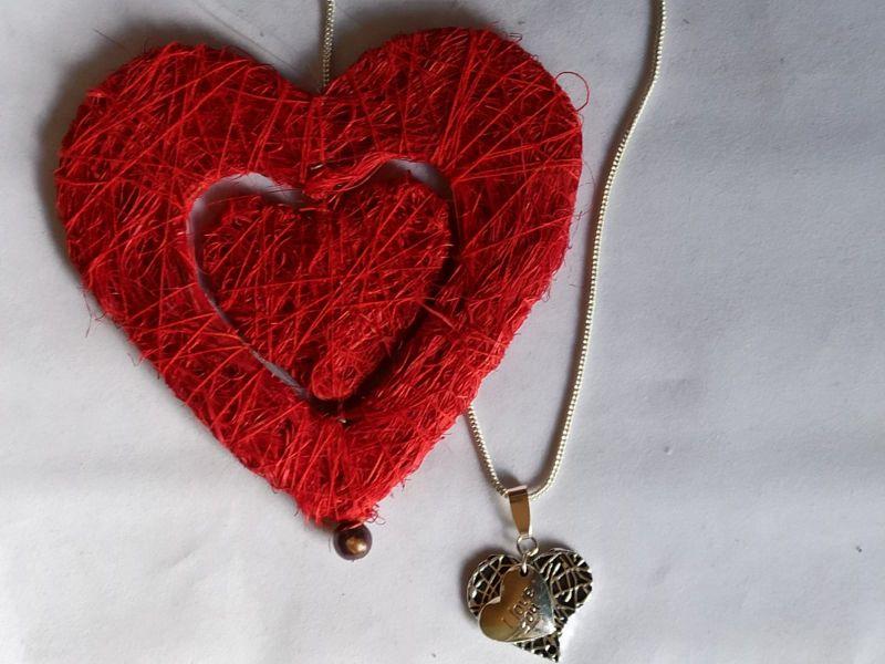 Kleinesbild - Message-Kettenanhänger Herzen