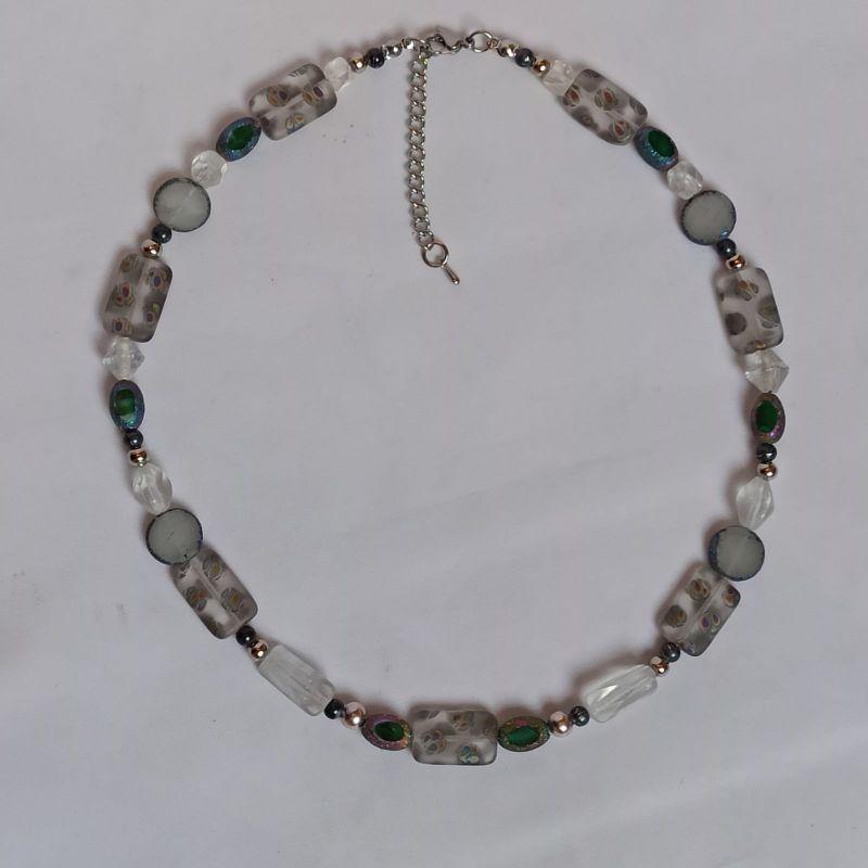 - Halskette böhm. Glas-Rechtecke mit Metallic-Ornament - Halskette böhm. Glas-Rechtecke mit Metallic-Ornament