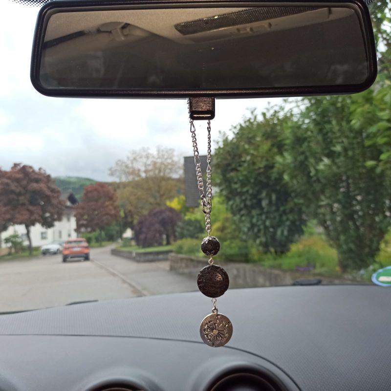 Kleinesbild - Duftschmuck/Aromaschmuck Auto-Bedufter mit Lava-Perlen schwarz u. Anhänger