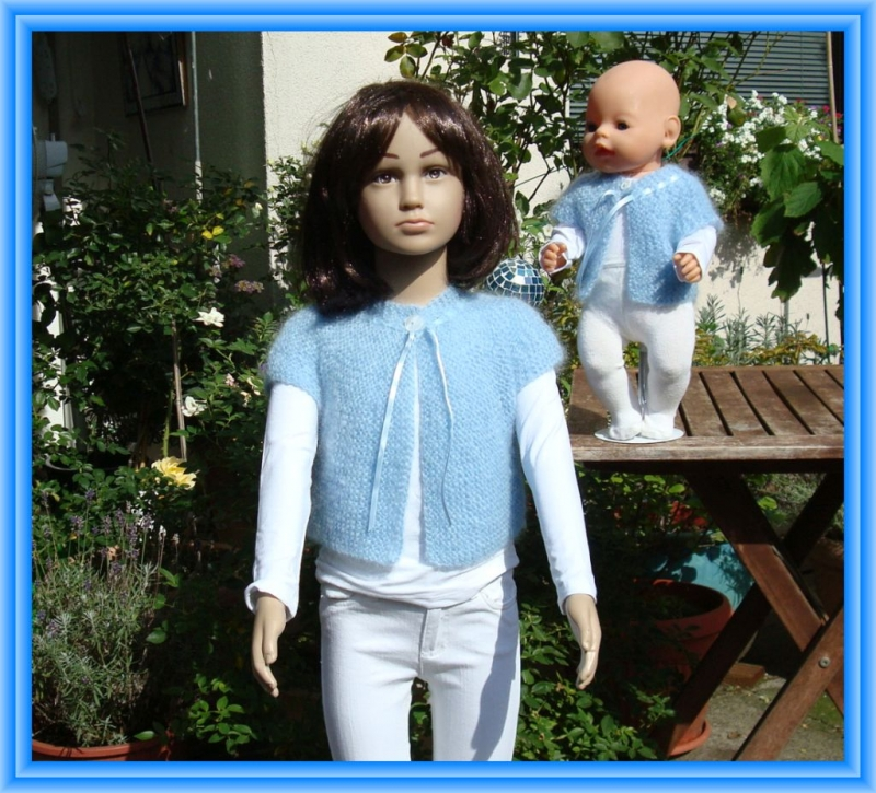 - Edles Strickjäckchen für Kind (Gr.104) und Puppe (Gr. 43 cm)  - Edles Strickjäckchen für Kind (Gr.104) und Puppe (Gr. 43 cm)