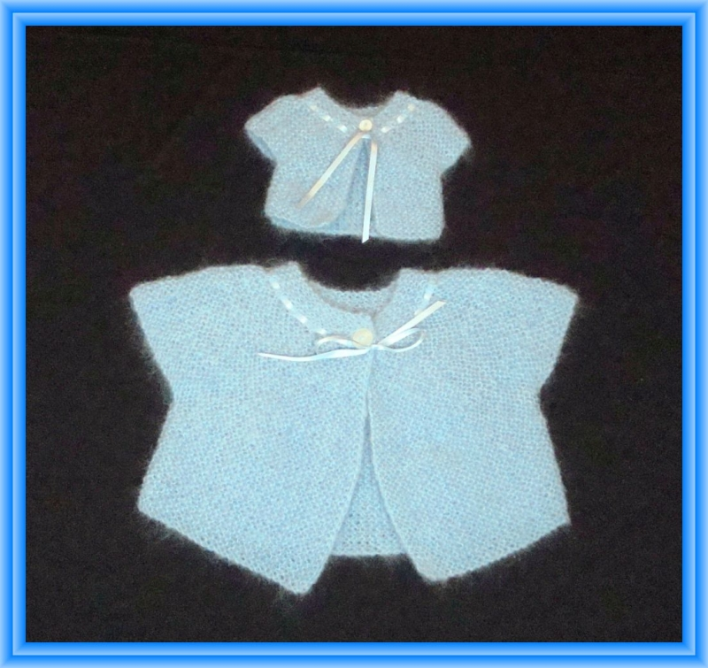 Kleinesbild - Edles Strickjäckchen für Kind (Gr.104) und Puppe (Gr. 43 cm)