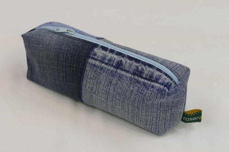 - Mäppchen - Upcycling aus Jeanshosenteilen / karierter Stoff - Mäppchen - Upcycling aus Jeanshosenteilen / karierter Stoff