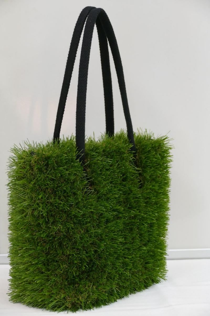 Kleinesbild - Handtasche - Kunstrasen + Upcycling Jeanshemd / Sonnenliegenstoff