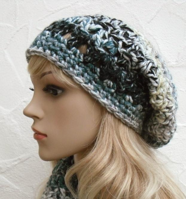 Kleinesbild - Megan ♥ Beanie, Wintermütze in anthrazit, grün, beige - 100% Polyacryl - weich, kratzfrei