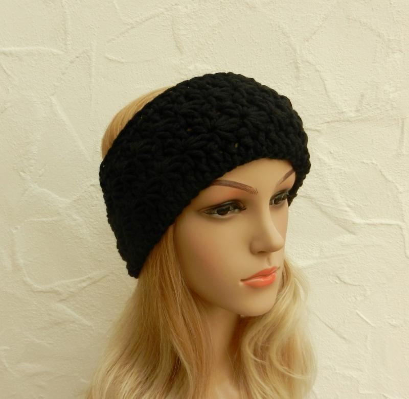 Kleinesbild - Stirnband, Ohrenwärmer in schwarz - Polyacryl, Wolle Mix