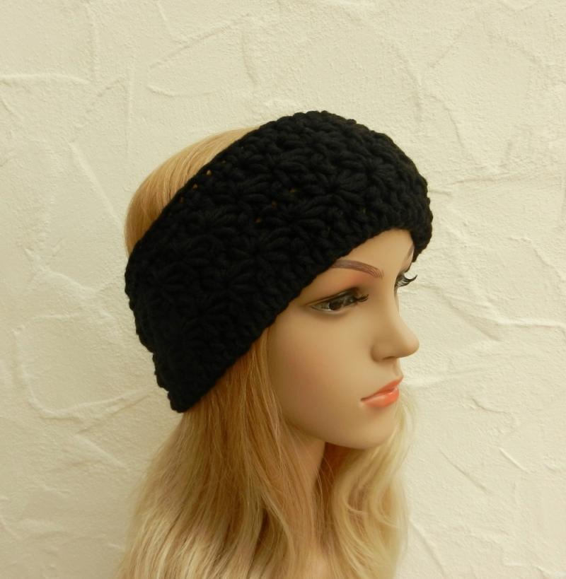 - Stirnband, Ohrenwärmer in schwarz - Polyacryl, Wolle Mix - Stirnband, Ohrenwärmer in schwarz - Polyacryl, Wolle Mix