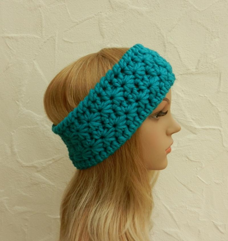 Kleinesbild - Stirnband, Ohrenwärmer in aqua, blau-grün - Polyacryl, Wolle Mix