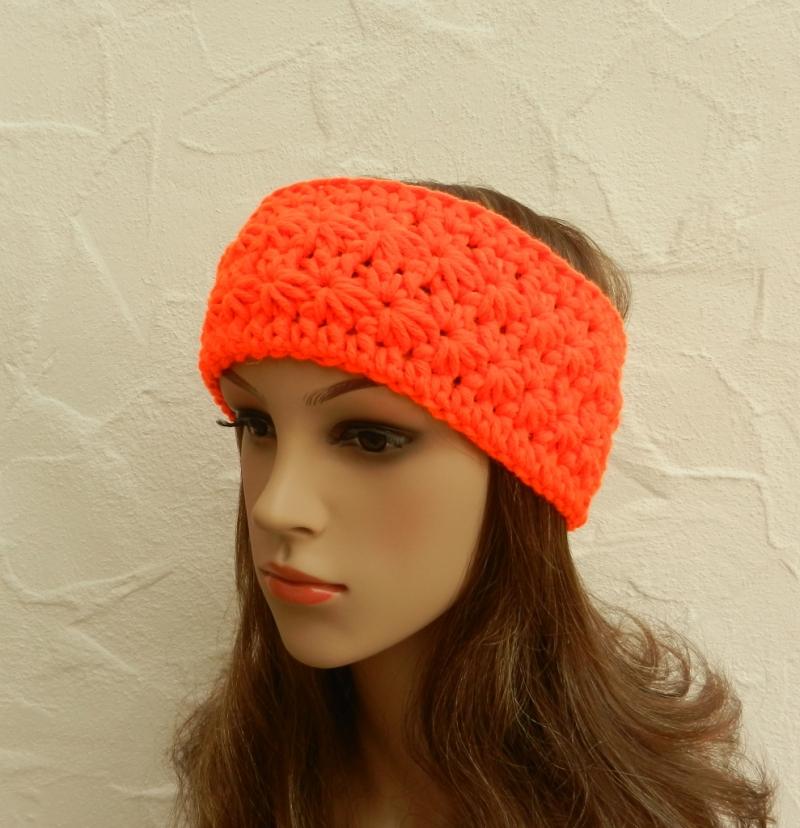 Kleinesbild - Stirnband, Ohrenwärmer in neon orange - Polyacryl, Wolle Mix