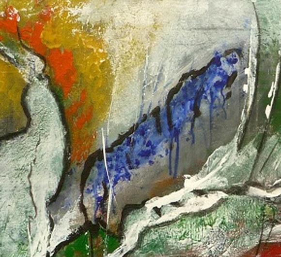 Kleinesbild - Acrylbild auf Leinwand, abstrakt - Tausendfüßler - 60x40cm