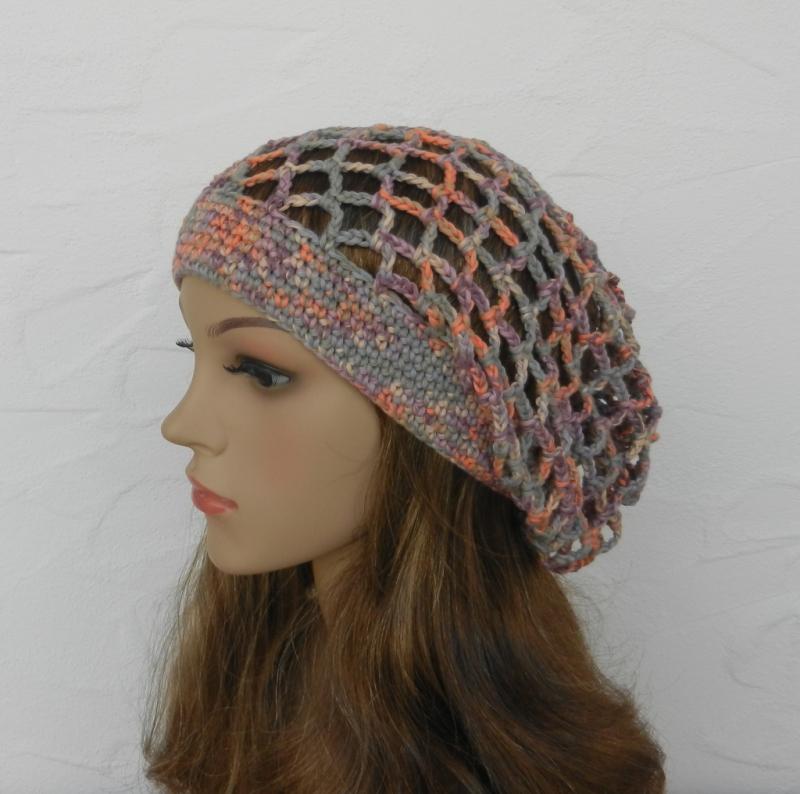 Kleinesbild - Emily ♥ Netzhaube, multicolor, pastell - 100% Baumwolle