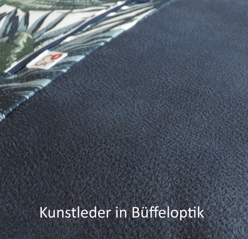 Kleinesbild - stilvoller Turnbeutel ♥Südsee♥ florales Muster mit Kunstleder in Büffeloptik blau